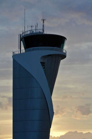 control tower: Air Traffic Control Tower at sunset Stock Photo