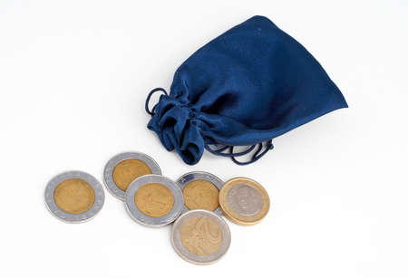 dime: Coins out of the bag isolated