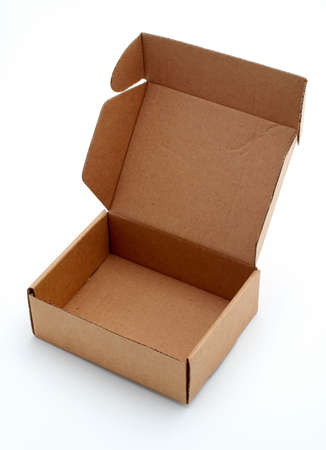 packer: An open cardboard box isolated on white background