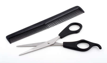 Scissors and comb isolated on white background Stock Photo - 434794