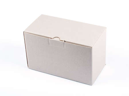 An closed cardboard box isolated on white background Stock Photo - 435957