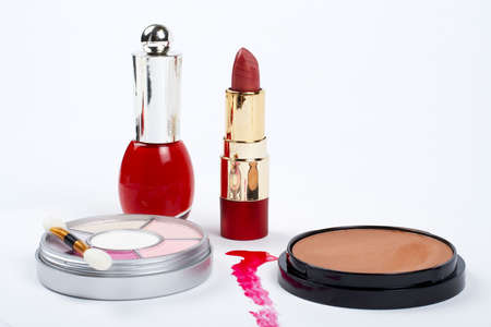 makeups: Assortment of makeups.  Macro shot on white background Stock Photo