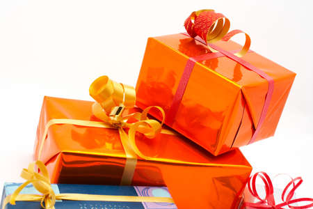 Detail of gift boxes, on white background Stock Photo - 443326