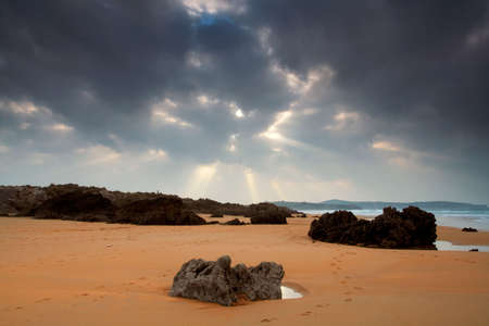 protrude: Valdearenas Beach in winter. Spain