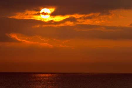 Seascape sunrise at spring photo