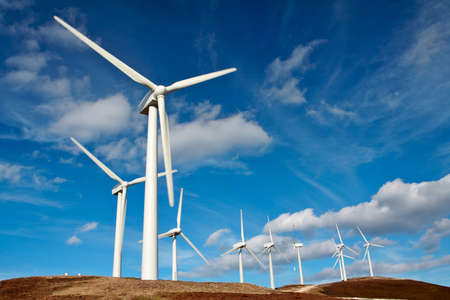 Wind turbines farm Stock Photo - 446510