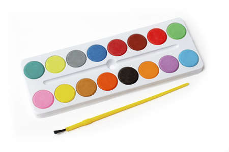 Box of Watercolors Picture isolated white background Stock Photo - 446543