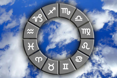 astrological signs on blue sky photo