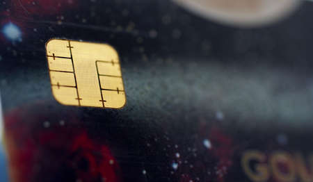 Macro shot of credit card, view of the chip. Shallow depth of Field Stock Photo - 446614