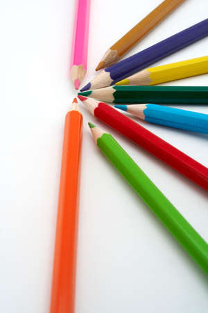align: Colored school pencils closeup Stock Photo