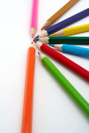 aligned: Colored school pencils closeup Stock Photo