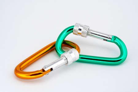 locking: Pair of locking carabiners closeup Stock Photo