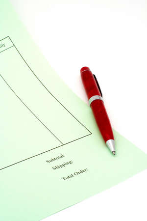 Close up Blank invoice with pen on white background (small DOF) photo