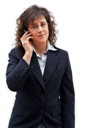Business woman making call with mobile phone photo