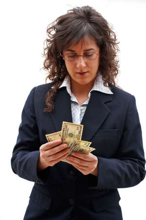 Business woman counting money photo