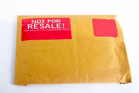 resale: Envelope with red sticker: Not for resale, isolated on white background