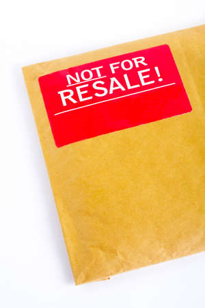 resale: Detail of Envelope with red sticker: Not for resale, isolated on white background Stock Photo