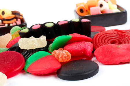 Detail of colorful sweets.  Macro shot on white background. Very shallow dof