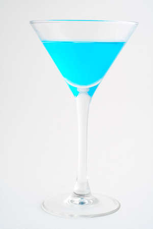bartend: Blue cocktail.  Macro shot on white background