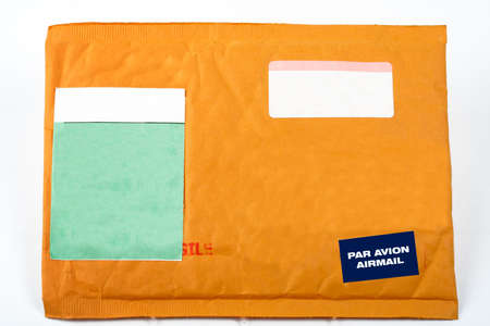 Envelope with blank stickers for text, on white background photo
