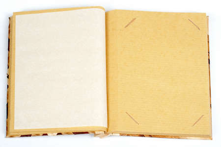 Antique scrapbook for one image per page, on white background photo