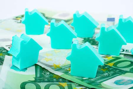 House on euro money background photo