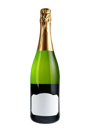 add text: Champagne bottle over a white background. Blank label for add text Stock Photo