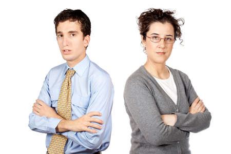 Business man and woman standing over a white background Stock Photo - 607139