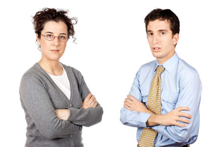 Business man and woman standing over a white background photo