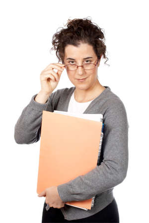 Business woman holding a folders over a white background Stock Photo - 607134