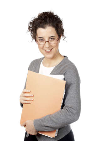 Smiling business woman holding a folders over a white background Stock Photo - 607133