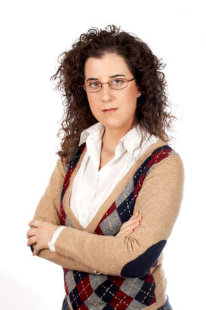 Serious business woman standing over a white background Stock Photo - 608432