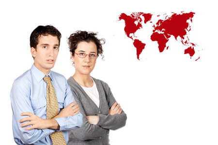 Business man and woman standing next to a world map photo