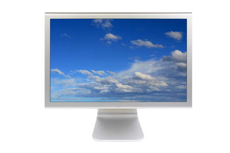 A flat panel lcd computer monitor isolated on white background Stock Photo - 615201