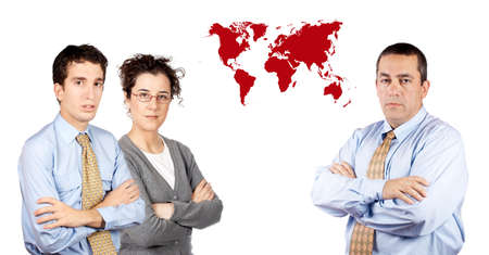 Two business men and business woman standing next to a world map photo