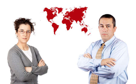 Business man and woman standing next to a world map Stock Photo - 624094