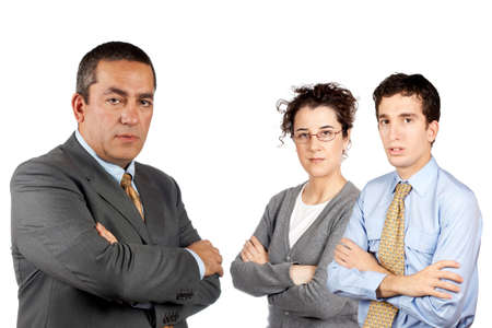 Business man and woman standing over a white background Stock Photo - 631857