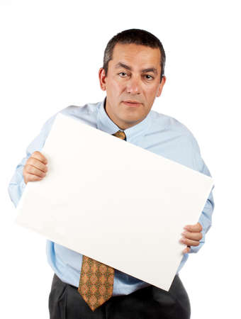 Business man holding the blank poster Stock Photo - 638834