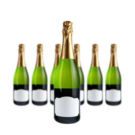 add text: Champagne bottles with blank label for add text, over a white background. Focus at front