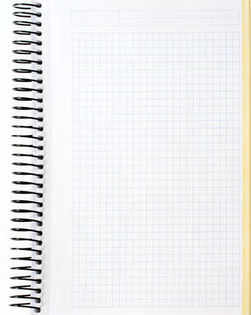 scratchpad: Blank notebook sheet over a white background Stock Photo