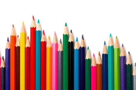 Assortment of coloured pencils with shadow on white background Stock Photo - 663573