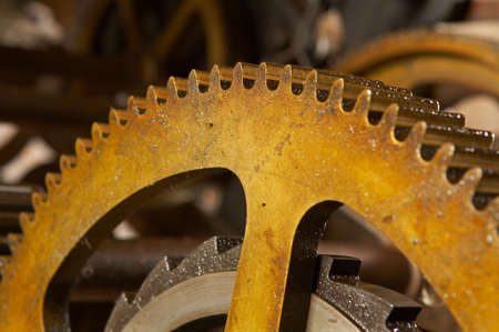 An old and dirty industrial gears background. Shallow DOF Stock Photo - 681764