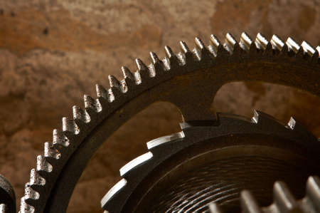 An old and dirty industrial gears background. Shallow DOF Stock Photo - 686374