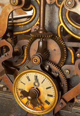 The machinery of old and dirty clock. Shallow DOF