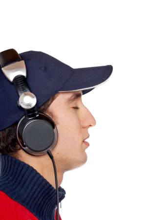 Relaxation of the DJ listening music on white background