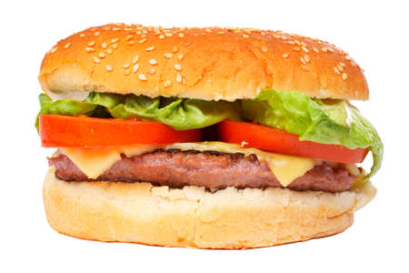 vegetarian hamburger: Cheese burger with lettuce and tomato,over a white background