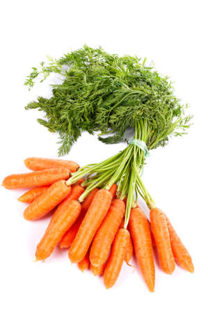 Bunch of fresh carrots with shadow on white background Banco de Imagens