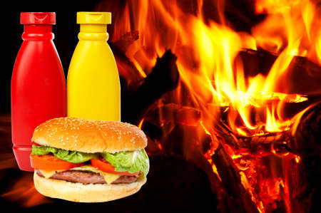 catsup: Cheese burger with mustard and ketchup bottles over a flames background