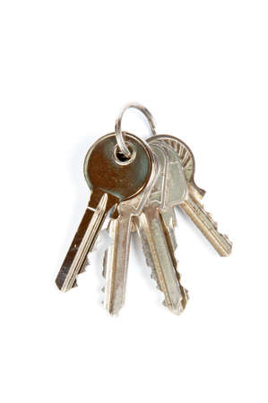 A some keys with shadow on white background