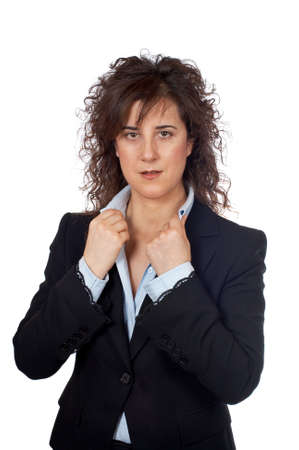 Serious business woman standing over a white background Stock Photo - 707899